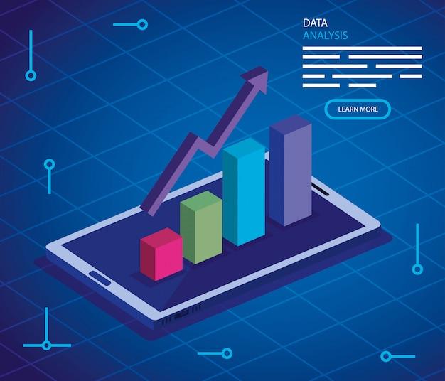 Analysedaten mit smartphone und infografik