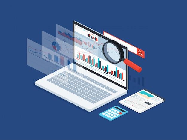 Analysedaten und entwicklungsstatistik. modernes konzept der geschäftsstrategie, suchinformationen, digitales marketing, programmierprozess.