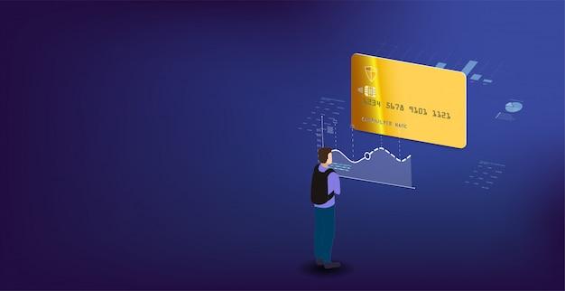 Analysedaten und investition. analysedaten auf einem isometrischen laptop. online-statistiken und datenanalyse. digitaler geldmarkt, investment, finanzen und handel.