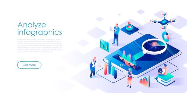 Analysieren sie die isometrische zielseitenvorlage für infografiken