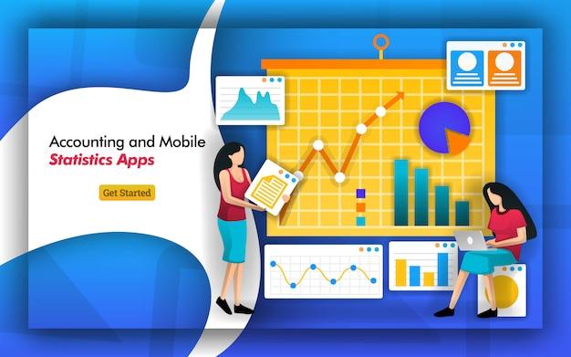Analysieren sie statistiken mit hilfe mobiler buchhaltungs-apps