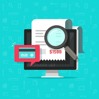 Analysierende oder lohnrechnungsforschung der on-line-zahlungsprüfung auf flacher karikatur des computers