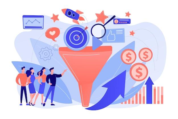 Analysten analysieren markt. verkaufsstrategie, lead-generierung