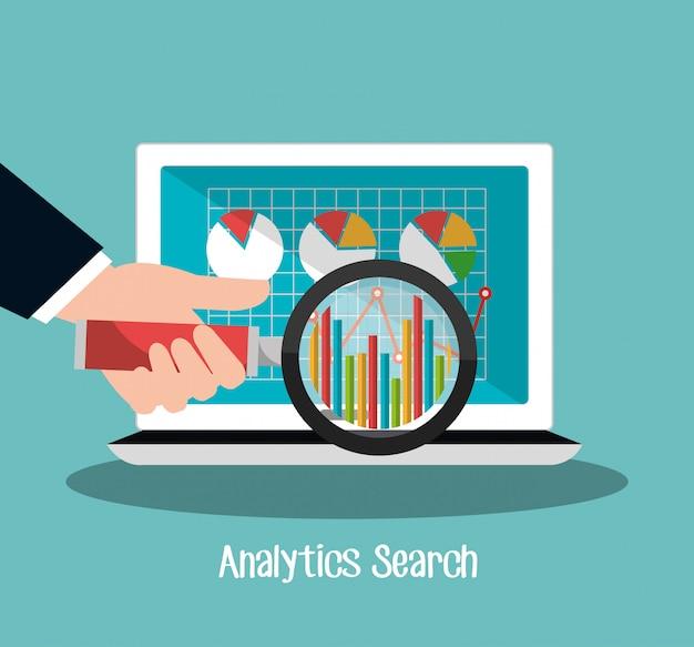 Analytics-suche online mit laptop