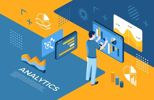 Analytik-technologieikonen der virtuellen realität mit leuten