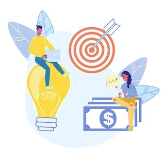 Analytiker, marketingspezialisten, die flache vektor-charaktere bearbeiten