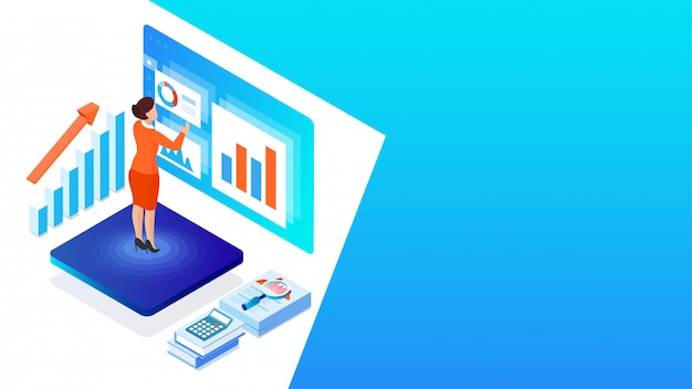 Analytiker- oder entwicklerarbeitsschreibtisch, geschäftsfrau analysieren die daten mit geschäftsausstattung für finanzwachstum oder datenanalysekonzept basiertes isometrisches design.