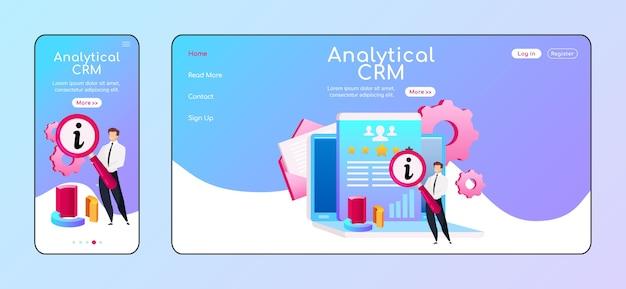 Analytische crm adaptive landingpage flache farbvorlage. männchen mit mobiler lupe, pc-homepage-layout. benutzeroberfläche der info-verarbeitungsseite. laptop, diagramm webseite plattformübergreifendes design