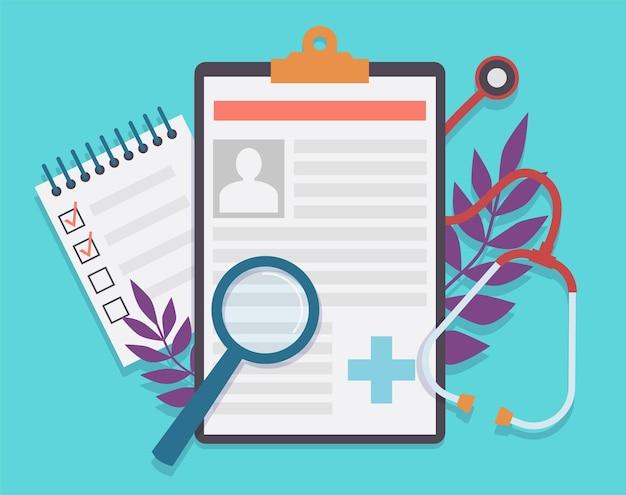 Anamnese und diagnose der patientenkarte