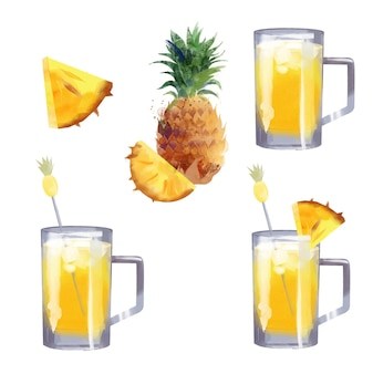 Ananas-aquarell-cocktailillustration