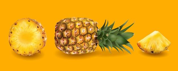 Ananas auf einem hellen gelben hintergrund