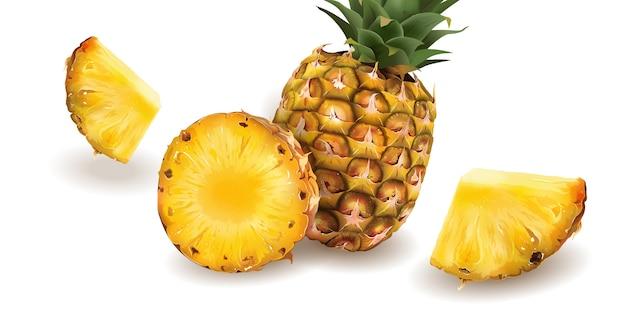 Ananas auf einem weißen hintergrund