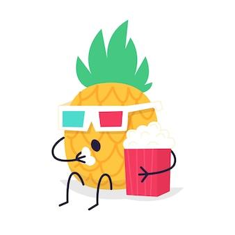 Ananas-charakter, der popcorn in der retro-filmbrillenillustration isst