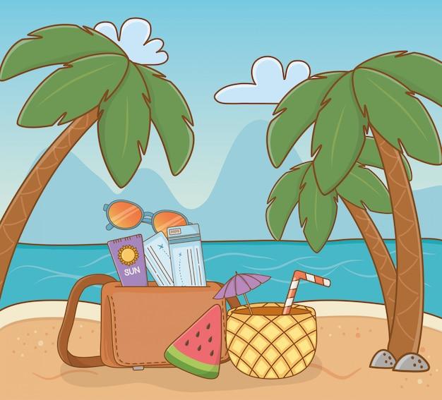 Ananas-cocktail und set items strandszene