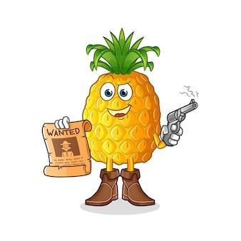 Ananas-cowboy, der pistole hält und plakatillustration wollte