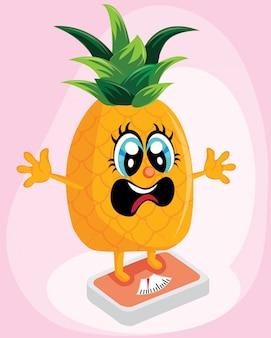 Ananas, die auf einer skala für gewichtsverlust steht