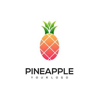 Ananas einfache logo-farbillustration