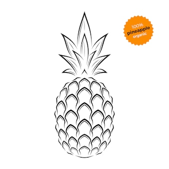 Ananas-emblem, etikett, symbol