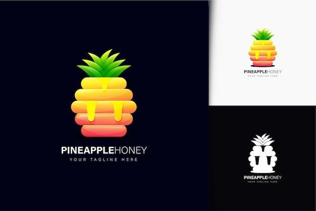 Ananas-honig-logo-design mit farbverlauf