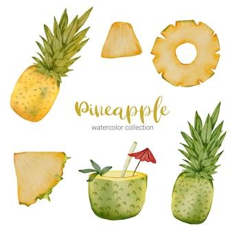 Ananas in aquarell-sammlung, voller früchte und in stücke und saft geschnitten
