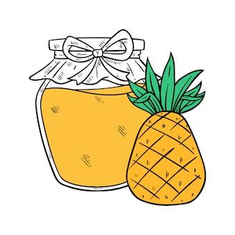 Ananas-marmelade mit jar mit farbigen handgezeichneten stil