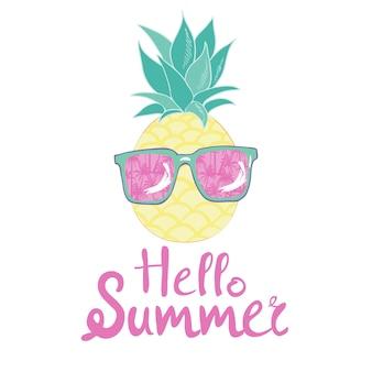 Ananas mit brille design, exotisch, hintergrund, essen, obst, illustration natur ananas sommer tropisch.