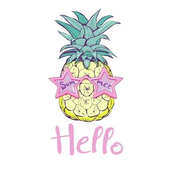 Ananas mit gläsern entwerfen, exotisch, hintergrund, lebensmittel, frucht, tropische zeichnung des musternatur-ananas-sommers frisch