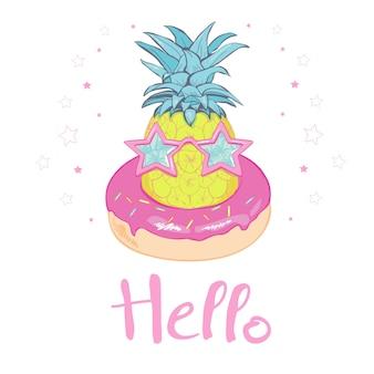 Ananas mit gläsern entwerfen, exotisch, lebensmittel, frucht, der tropische illustrationsnatur-ananassommer