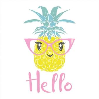 Ananas mit gläsern tropisch, vektor, illustration, design, exotisch, lebensmittel, frucht