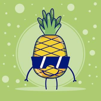 Ananas mit niedlichen karikaturkaramellen der sonnenbrille