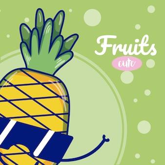 Ananas mit niedlichen obst karikaturen der sonnenbrille
