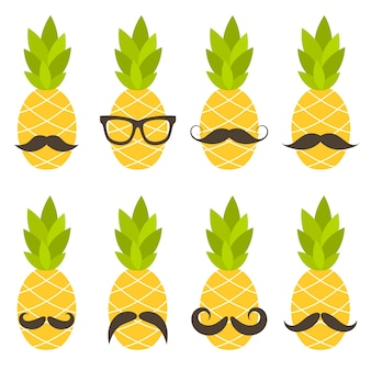Ananas mit schnurrbart