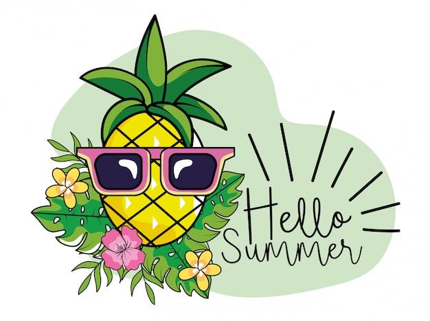 Ananas mit sonnenbrille und blättern zu den sommerferien