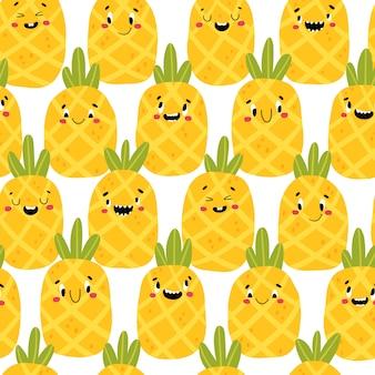 Ananas modernes kreatives nahtloses muster. lustige tropische charaktere mit glücklichen gesichtern. karikaturillustration im einfachen handgezeichneten skandinavischen stil. ideal zum drucken von babyprodukten