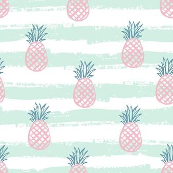 Ananas-muster. nahtloser dekorativer hintergrund mit ananas. helles sommerdesign auf dem hintergrund der trendlinie green. vektor-illustration