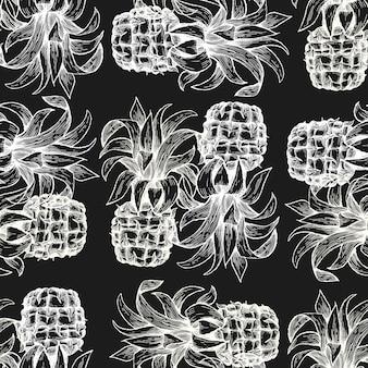 Ananas nahtlose muster. hand gezeichnete illustration der tropischen frucht des vektors auf kreidebrett. ananasfrucht mit gravur.