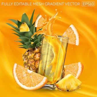 Ananas, orange und ein glas spritzsaft auf einem hintergrund von fruchtsaft.