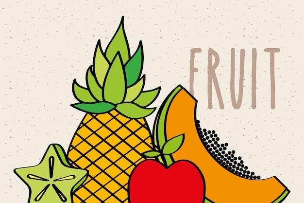 Ananas papaya apfel und carambola scheibe frucht