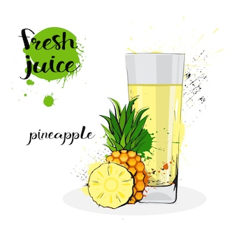 Ananas-saft-frische hand gezeichnete aquarell-früchte und glas auf weißem hintergrund