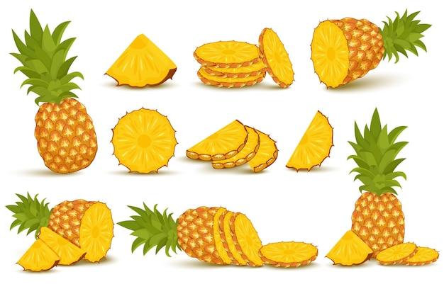 Ananas-set. ananas-kollektion. ganze und geschnittene ananas isoliert auf weißem hintergrund mit beschneidungspfad