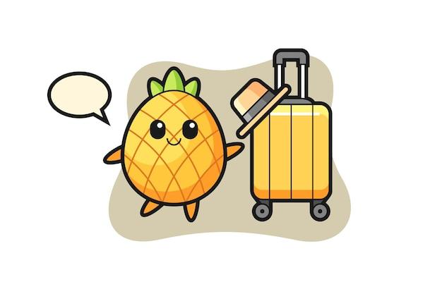 Ananas, süßes design für t-shirt, aufkleber, logo-element
