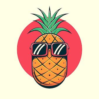 Ananas tragen brille cartoon illustration.