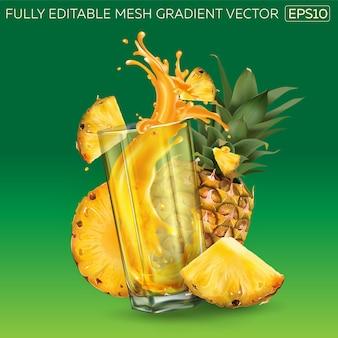 Ananas und ein glas saft auf grünem grund.