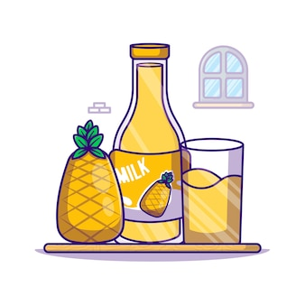 Ananas und milchflasche cartoon illustration. weltmilch-tag-symbol-konzept weiß isoliert. flacher cartoon-stil