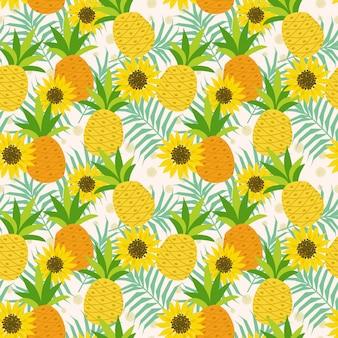 Ananas und sonnenblume auf nahtlosem muster der blätter.