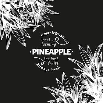 Ananas und tropische blätter. hand gezeichnete vektor tropische fruchtillustration auf kreidetafel. gravierte ananasfrucht