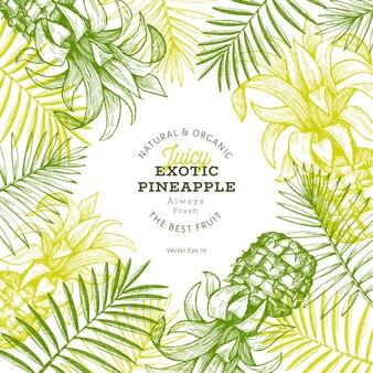 Ananas und tropisches blattdesign