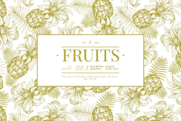Ananas und tropisches blattplakat
