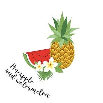 Ananas und wassermelone - vektor, abbildung. obst-set. icons tropische früchte mit blättern und blumen. set trendige illustrationen des vektors getrennt auf weiß.