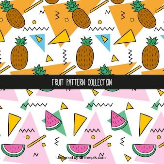 Ananas- und wassermelonenmusteransammlung
